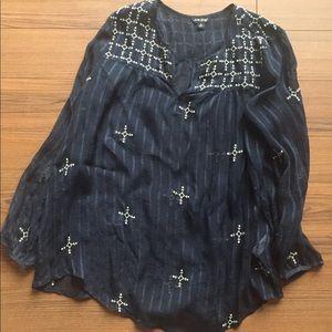 Lucky Brand sheer long sleeve blouse-NWOT